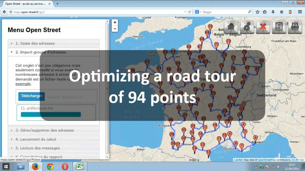 Video presentation of Open Street with an optimization of a road tour of 94 points